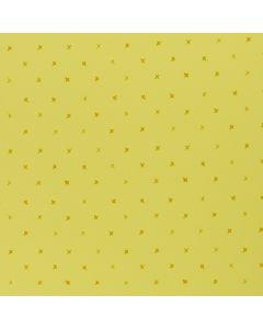 Süsser, feiner Jersey Stoff in einem fröhlichen hellgelb mit kleinen, feinen X-Motiven in ocker. Der Stoff ist ideal für Damenbekleidung und Unterwäsche.