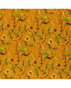 Weich fliessender Viskose Stoff in einem sommerlichen Orangeton mit Wiesenblumen-Motiven. Der Stoff ist ideal für leichte, lockere Sommerkleider.