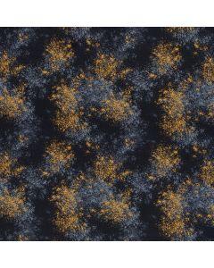 Baumwollstoff - Webware in dunklem Denim mit Musterung in jeansblau und ocker