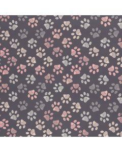 Lässiger Softshell Stoff in grau mit Pfötchenmotiven in rosa und hellblau. Wasserabweisender und winddichter Softshell Stoff mit warmem Fleece Futter.