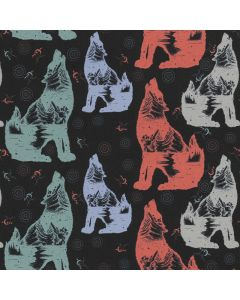 Lässiger Softshell Stoff mit Hund - Hündchen-Muster in herbstlichen Farben für Softshell-Jacken, Decken, Matschhosen; usw.