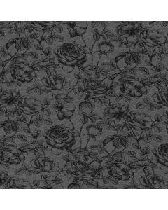 Weicher, bielastischer Sweat Stoff aus Baumwolle in grau mit schwarzen Rosenmotiven - die Rückseite des Stoffes ist flauschig weich angeraut.