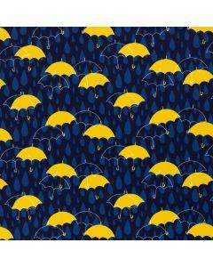 Dunkelblauer Softshell Stoff mit blauen Tropfen und gelben Regenschirm-Muster. Der Stoff ist winddicht und wasserabweisend.