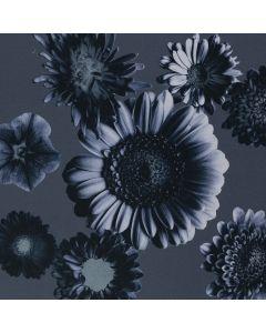 Elastischer Baumwollstoff in dunkelblau mit Blumenmuster