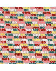 Bunter French Terry Stoff 'You Go Girl' aus der Swafing-Kollektion von Käselotti - der Stoff ist perfekt für Damen- und Kinderbekleidung.