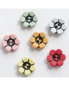 Kinderknöpfe 'Blume', 14mm in 6 Farben
