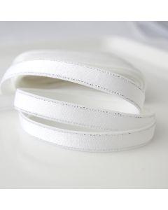 Weisser BH-Trägergummi, Trägerband mit glitzernden Silberstreifen den Kanten entlang - für BHs, Tops oder als Verzierung einsetzbar
