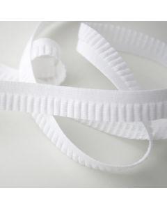 BH-Unterbrustgummi in weiss mit breiter Rüschenkante - 16mm breit, 5m