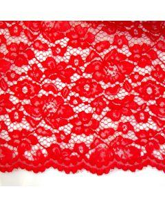 Elastische Spitze in rot - 145cm breite Meterware für festliche Kleider, Blusen oder Deko.