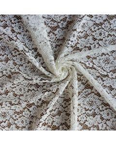 Elastische, halbtransparente, mittelschwere Spitze in ecru mit feinem Blumenmuster. - 145cm breit - Gewicht: 170 g/m2