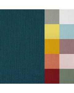 Uni Musselin Stoff (Double Gauze) aus 100% Baumwolle 22 Farben - der Stoff ist perfekt für den Sommer: für Kinder- und Damenkleider, Nuschelis; usw.