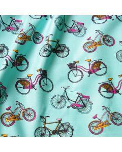 Canvas Stoff mit vintage Velomuster - Fahrradmuster in mint.