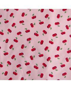 Bielastischer Jersey Stoff mit Kirsche-Motiv für Kinder- und Damenbekleidung.