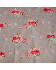 Weicher Jersey Stoff in taupe mit Rosenmuster in pink und orange und glitzernder Musterung - Stoffzusammmensetzung: 95% Baumwolle 5% Elastan - Stoffgewicht: 200 g/m2