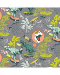 GOTS soft French Terry - Sommersweat Stoff 'Dino' mit Dinosauriermuster