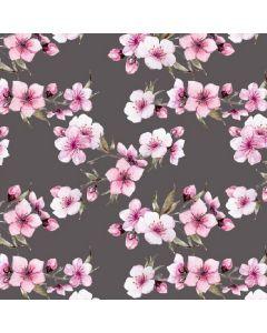 Jersey Stoff 'Cherry Blossom' in grau mit feinen Kirschblüten-Motiven