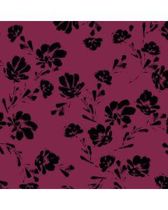 Tencel - Modal Jersey Stoff in weinrot mit feinem Blumenmuster in schwarz für Damenbekleidung.