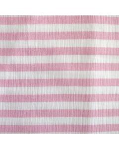 Weicher Musselin Stoff aus 100% Baumwolle in weiss-rosa gestreift. Die Streifen sind 14mm breit - der Stoff ist perfekt für Kinder- und Damenbekleidung.