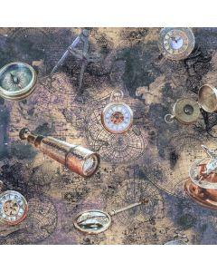 Mittelschwerer Canvas Stoff aus Baumwolle mit Digitaldruck Motiven: Compass - Lupe und Fernglas für lässige Taschen, Raumtrenner, Sonnensegel und Utensilo.