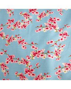 Himmelblauer GOTS soft French Terry - Sommersweat Stoff mit Kirschblüten-Motiven
