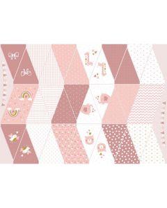 Lässiger Stoff für eine Wimpelkette in Rosatönen - der Stoff ist aus 100% Baumwolle, perfekt für eine Geburtstagsparty, Babyparty
