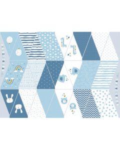 Lässiger Stoff für eine Wimpelkette in Blautönen - der Stoff ist aus 100% Baumwolle, perfekt für eine Geburtstagsparty, Babyparty - Das Panel ergibt 18 doppelseitige Fähnchen.