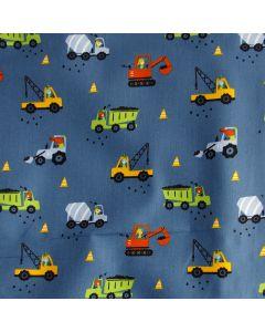 Jeansblauer Stoff mit Bagger - Lastwagen - Betonmischer-Muster für Kinderbekleidung und Deko - der Stoff ist aus 100% Baumwolle.