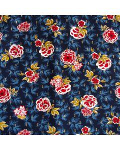 Weicher Viskose Stoff in dunkelblau mit roten Blumenmotiven und glitzernden Highlights.