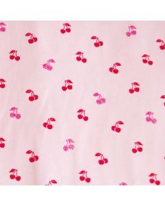 Rosa Jersey Stoff mit glänzenden Kirsche-Motiven