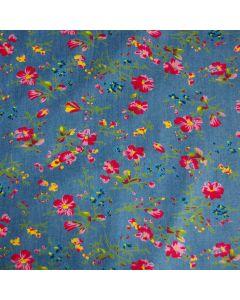Leichter Jeans Stoff in jeansblau mit buntem Blumenmuster für dünne Sommerkleider, Hosen, Blusen oder Deko.