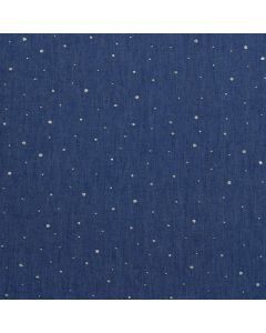 Leichter Jeans Stoff in dunklem denimblau mit sehr kleinen und feinen Rosenmuster für Kleider, Hosen, Blusen oder Deko.
