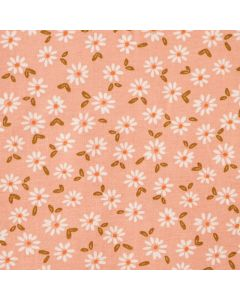 Jersey Stoff in Korallfarbe mit feinem, buntem Blumenmuster in orange und dunkelrot für Damenbekleidung und Unterwäsche.