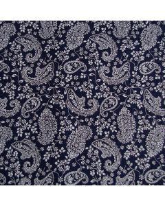 Weicher Musselin Stoff in dunkelblau mit hellen Paisley-Muster - der Stoff ist blickdicht, Webware aus 100% Baumwolle. Perfekt für Bekleidung und Accessoires.
