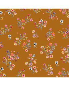 Baumwollpopeline Stoff in ocker mit Blumenmuster