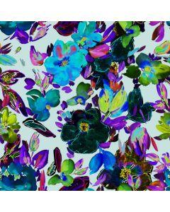 Baumwolle Popeline Stoff in schwarz mit bunten Blumen in Aquarell-Optik. Der Stoff ist ideal für Damenbekleidung. - Stoffbreite: 150cm - Stoffgewicht: 200 g/m2