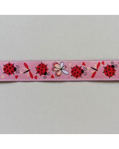 Webband, Marienkäfer - rosa